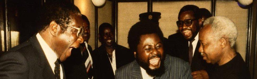 Robert Mugabe and Wilf Mbanga (c) and Julius Nyerere (r)