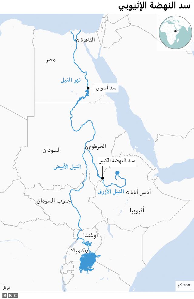 خريطة توضح مسار نهر النيل منذ بدايته من إثيوبيا.