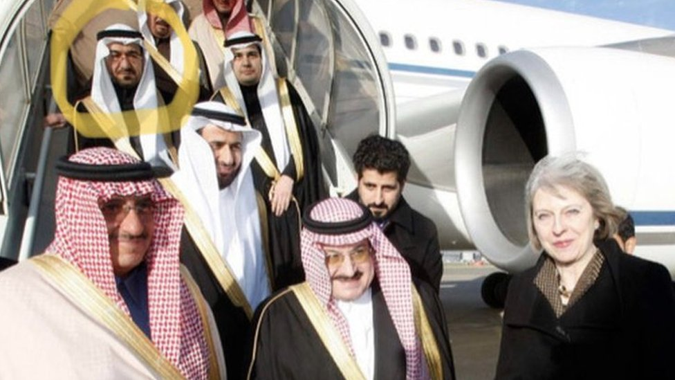 Saad al-Jabri (circled) accompanies Prince Mohammed bin Nayef (centre) during a visit to London in 2015, with