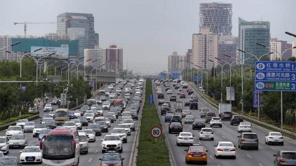 Cars are pictured during the morning rush hour in Beijing, China, July 2, 2019.