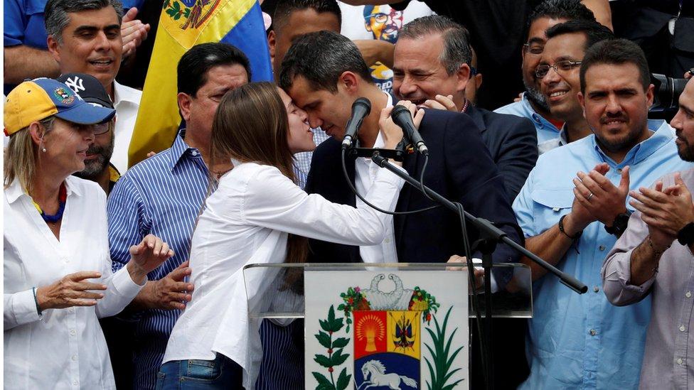 Guaidó durante su proclamación como presidente encargado de Venezuela.