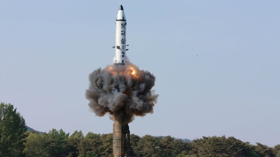 The scene of the intermediate-range ballistic missile Pukguksong-2's launch test in this undated photo released by North Korea's Korean Central News Agency