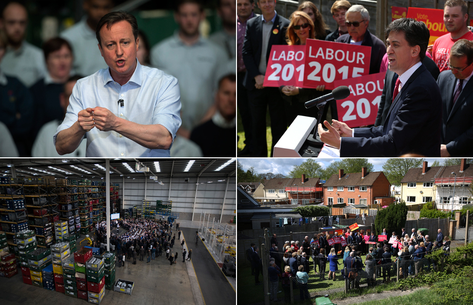 Left top and bottom: Prime Minister David Cameron on a visit to an engineering factory in Birmingham. Right top and bottom: Labour Party leader Ed Miliband campaigns in the back garden of a Labour party office in Cardiff, Wales
