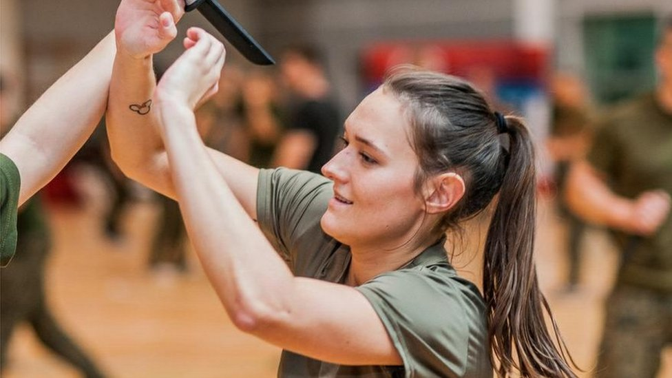 Polish female army recruit in self-defence class (Polish Defence Ministry)