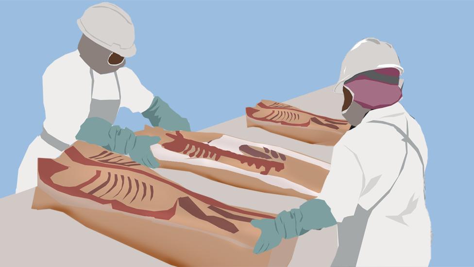 Dos trabajadores en una fábrica de carne.
