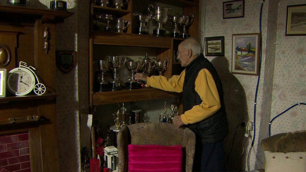 Pat Gillespie with his trophies