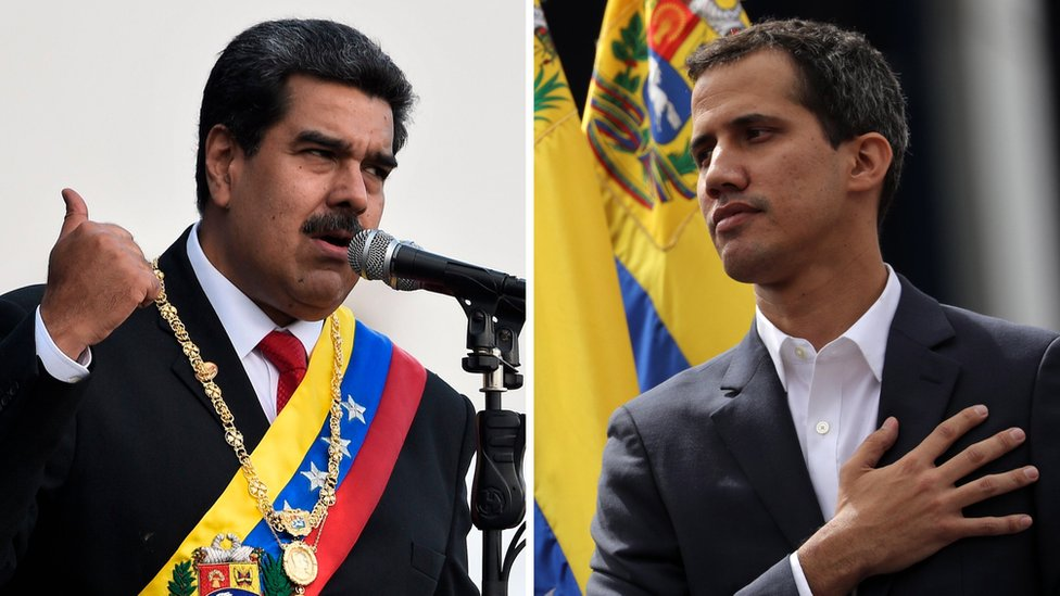 Collage photograph of President Maduro and Juan Guaidó