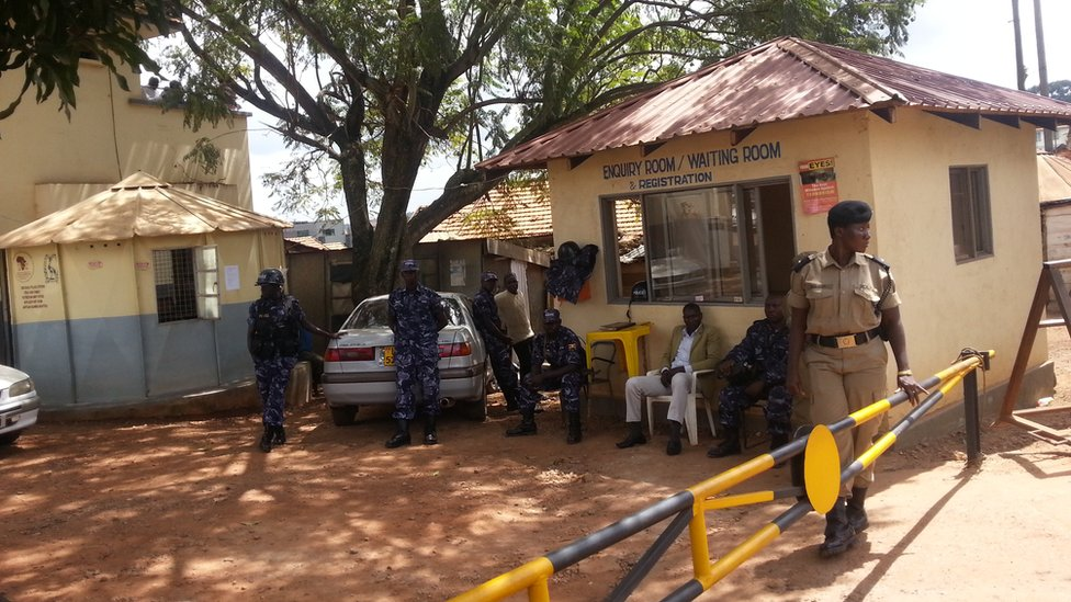 Outside Kira Road police station, where Mr Mbabazi is being held 09 July 2015