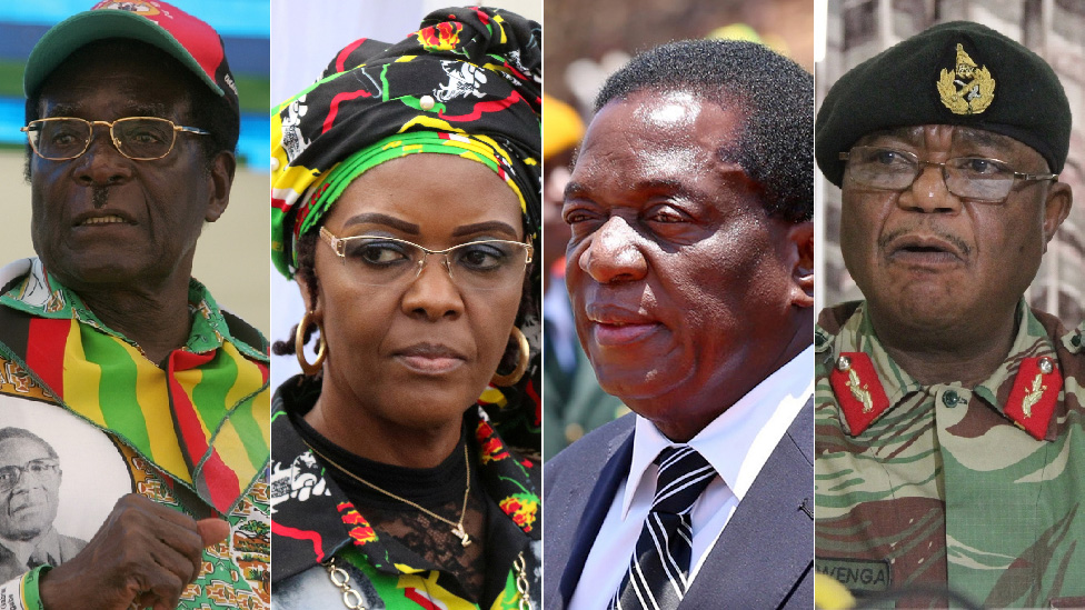 Left to right: President Robert Mugabe, his wife Grace Mugabe, recently sacked vice-president Emmerson Mnangagwa and armed forces chief Gen Constantino Chiwenga
