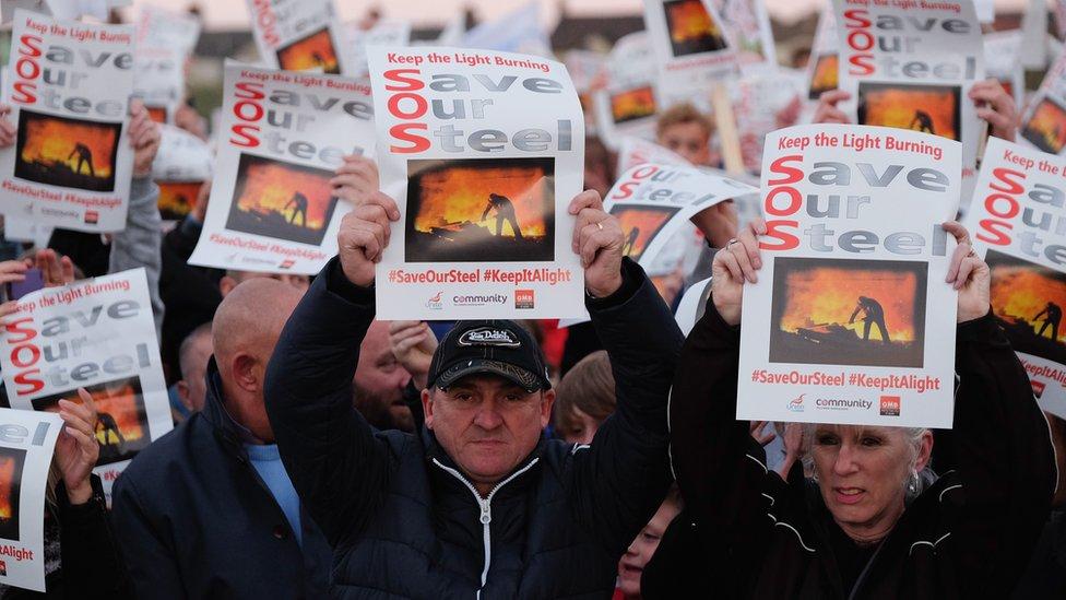 Protestors at Redcar