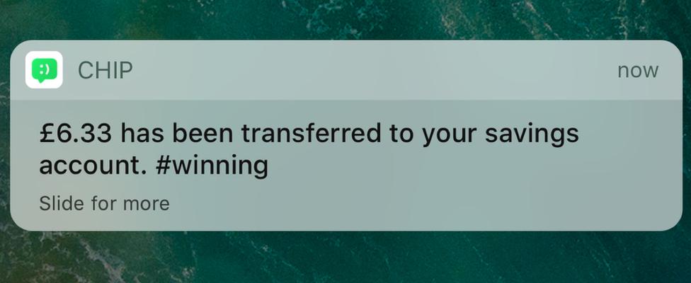 Chip notification on app
