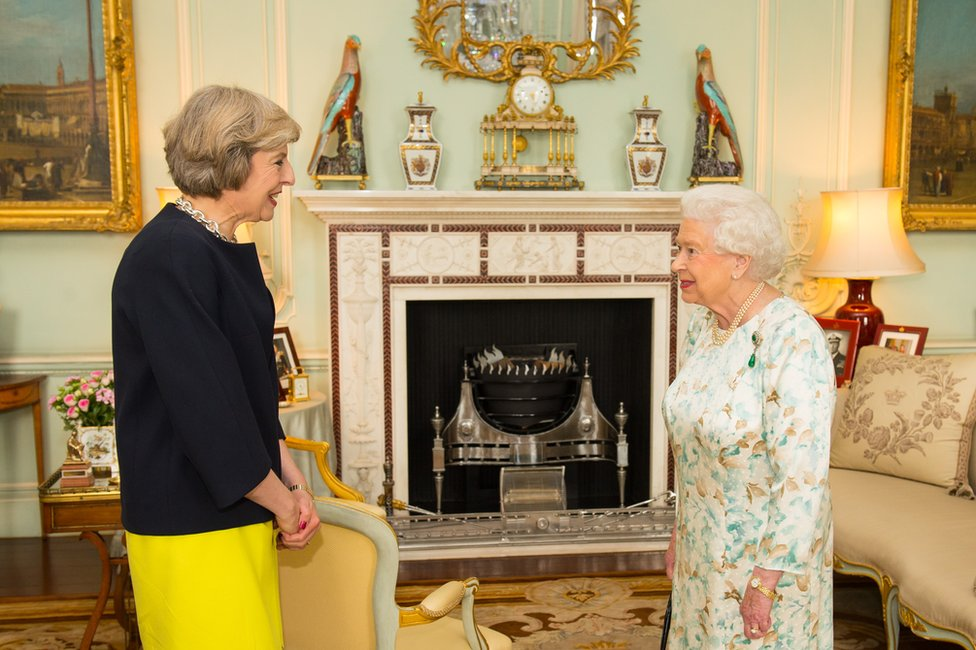 Theresa May and Queen Elizabeth II