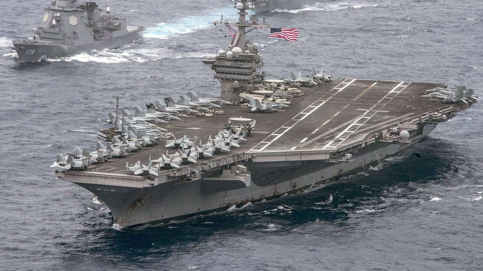 US aircraft carrier USS Carl Vinson in the Philippine Sea with the Japan Maritime Self-Defence Force on April 26, 2017