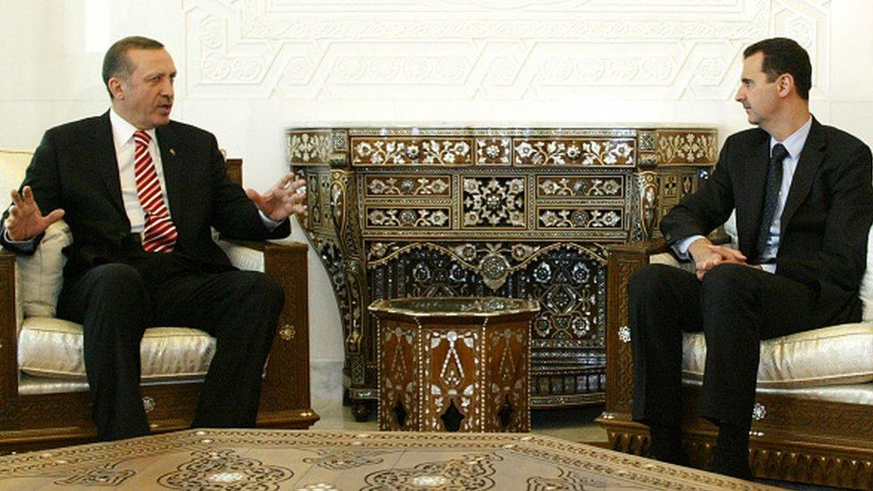 Erdoğan ve Esad, 2008'de Şam'da