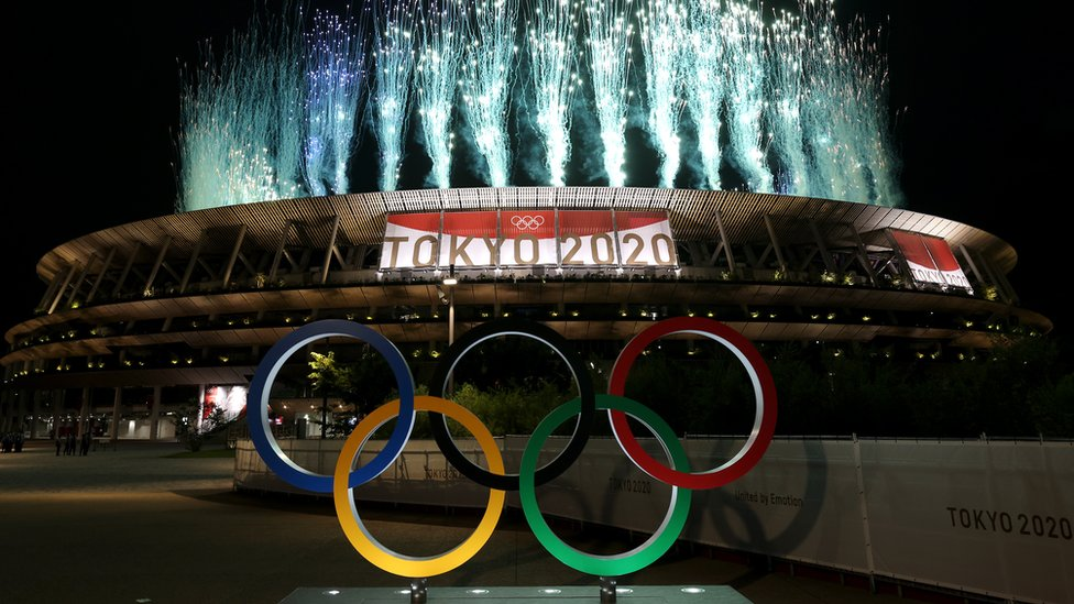 A general view outside the stadium as fireworks are let off during the Opening Ceremony of the Tokyo 2020 Olympic Games at Olympic Stadium on July 23, 2021 in Tokyo, Japan.