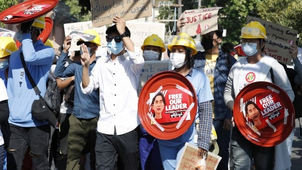 Yangon protest against coup - 10 February