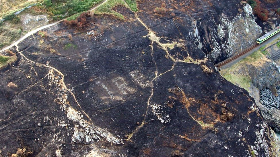The Éire sign was revealed after a large gorse fire on Bray Head