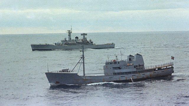 An Icelandic Gunboat and British Frigate near the Icelandic coastline
