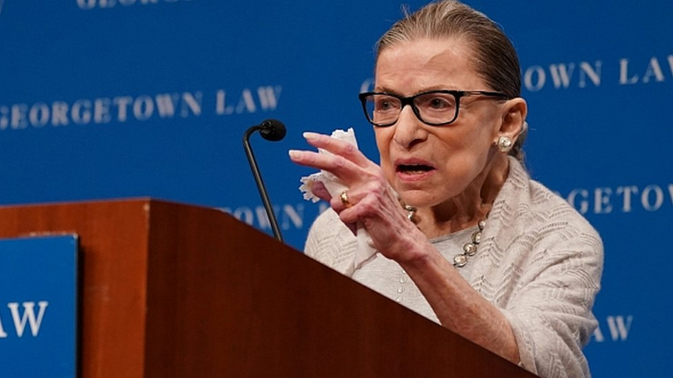 US Supreme Court Justice Ruth Bader Ginsburg delivers remarks during a discussion hosted by the Georgetown University Law Center in Washington, DC, September 12, 2019