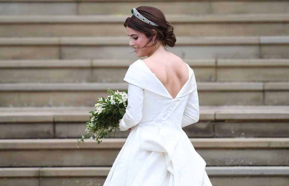 Princess Eugenie of York arrives for her royal wedding ceremony to Jack Brooksbank at St George's Chapel at Windsor Castle, in Windsor, Britain, 12 October 2018