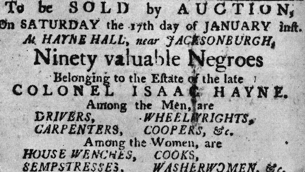 Cartel que anuncia una subasta de esclavos en EE.UU. en 1850.