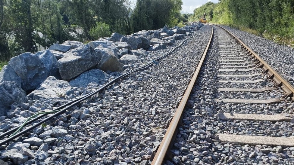 Rock armour boulders protecting a section of track on the Conwy Valley Line