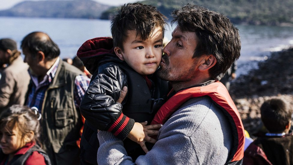 Migrants arrive on Lesbos after crossing from Turkey (19 October)