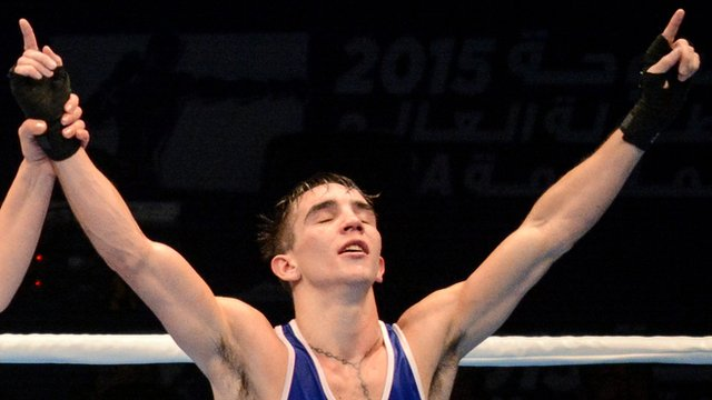 Michael Conlan shows his joy after becoming Ireland's first ever male world amateur boxing champion in October