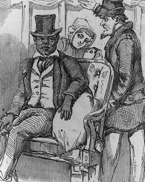 An 1856 engraving showing a black man being expelled from a railway carriage