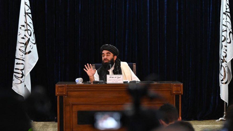 El portavoz de los talibanes, Zabihullah Mujahid, en una conferencia de prensa en Kabul el 6 de septiembre de 2021.