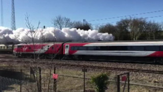 Virgin train blocks view of Flying Scotsman in Lincolnshire