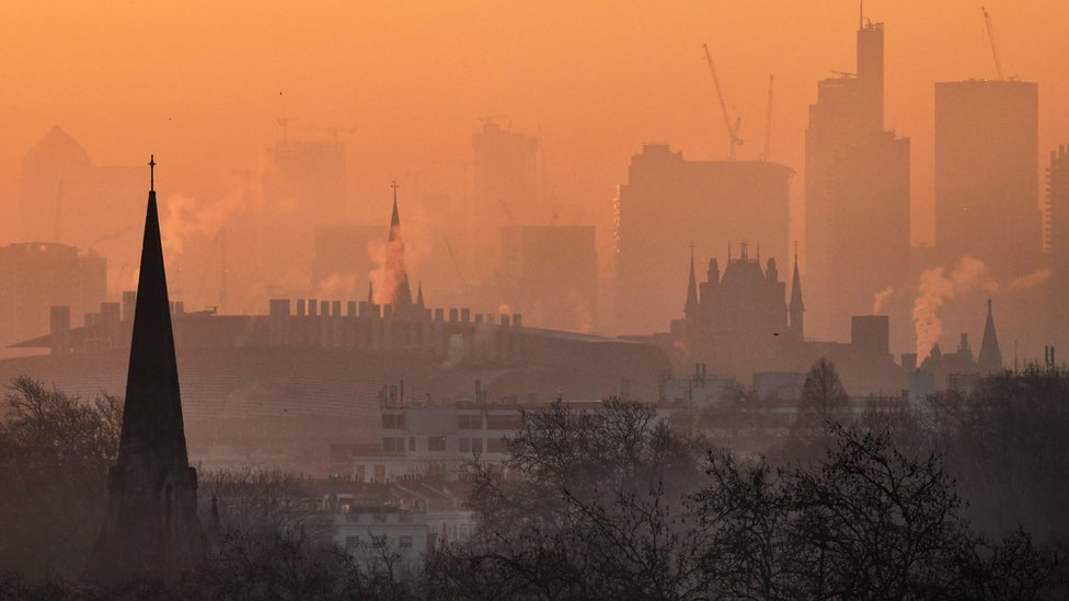 View over London from Primrose Hill at dawn