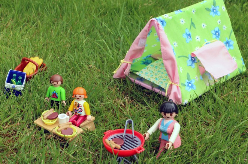 Toy people camping