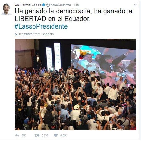 """Tweet by Guillermo Lasso reading: """"Democracy has won, FREEDOM has won in Ecuador. #LassoPresidente"""""""