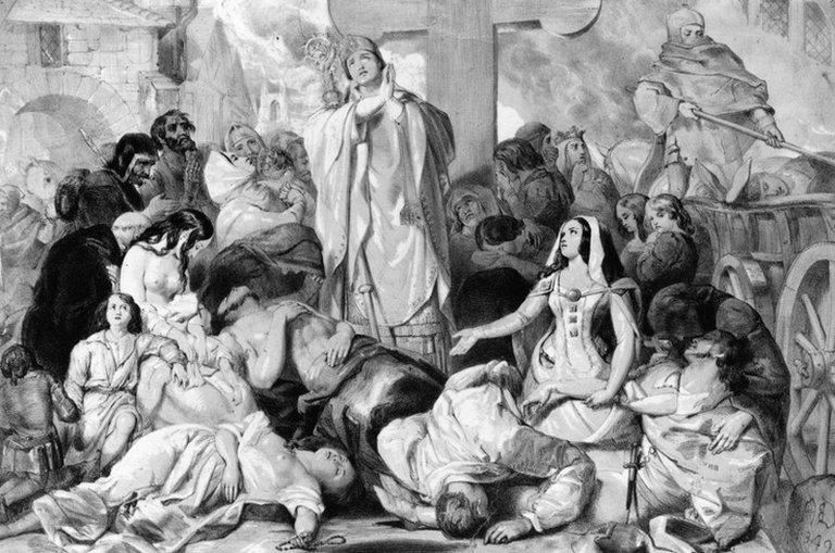 Orang Eropa berdoa dengan putus asa agar wabah penyakit pes segera berakhir.