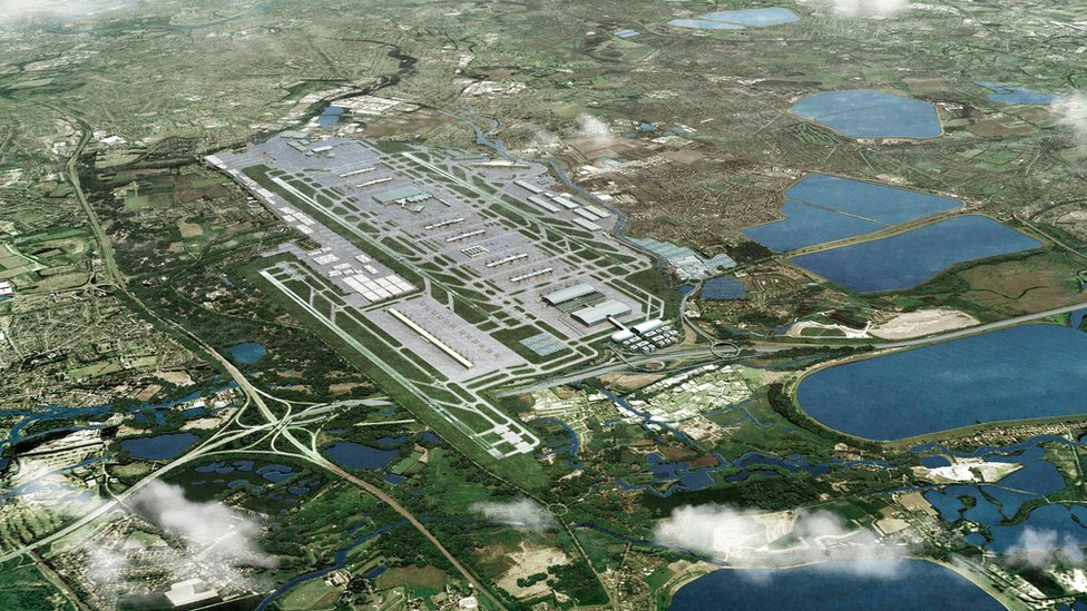 Undated handout file image issued by Heathrow Airport of an artist's impression showing how the airport could look with a third runway