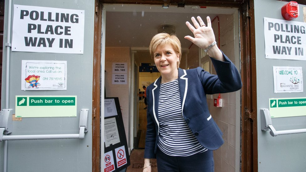 Nicola Sturgeon at a polling station