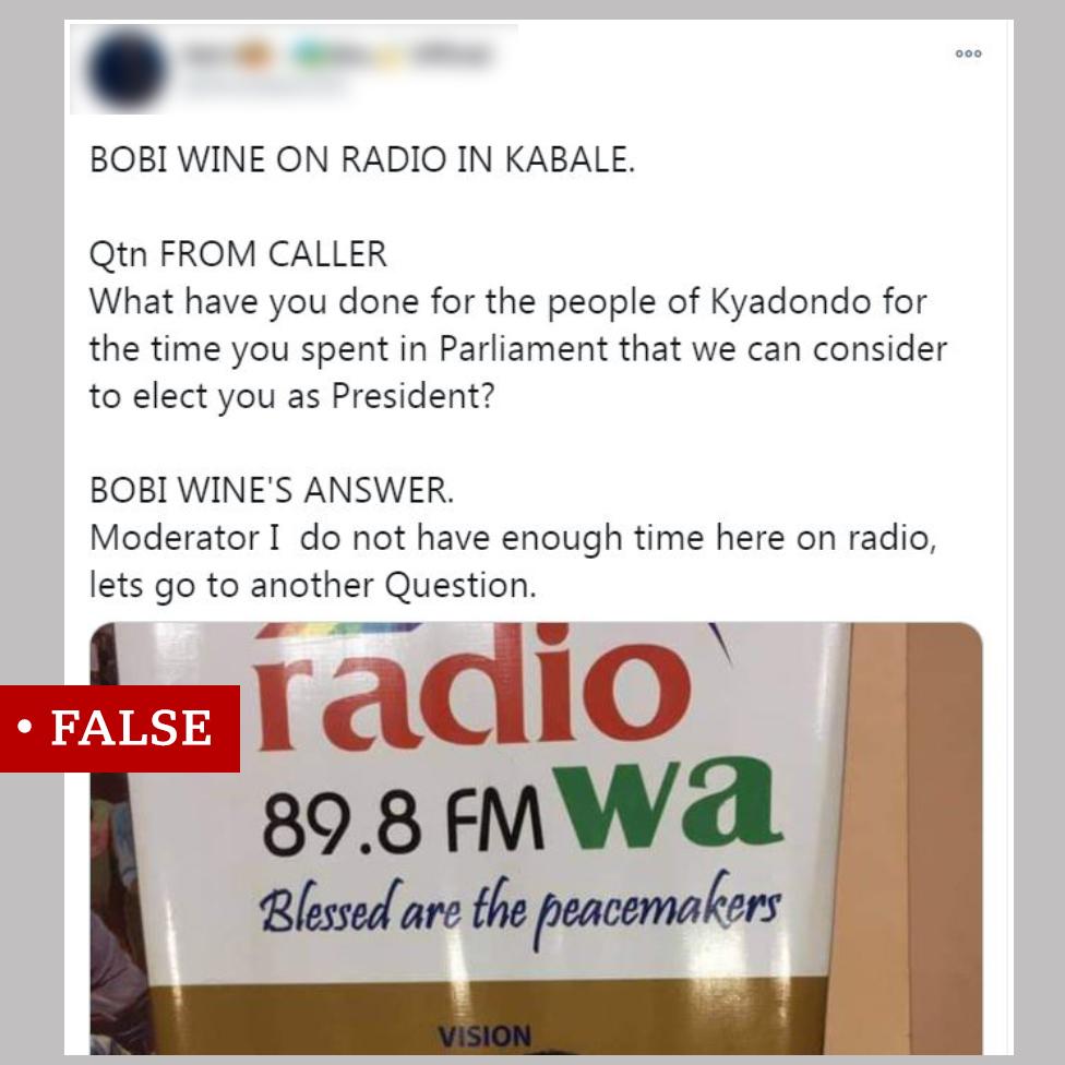 """Screen grab of social post labelled """"false"""