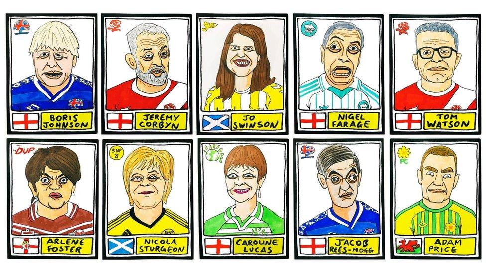 Panini Cheapskates drawings of politicians