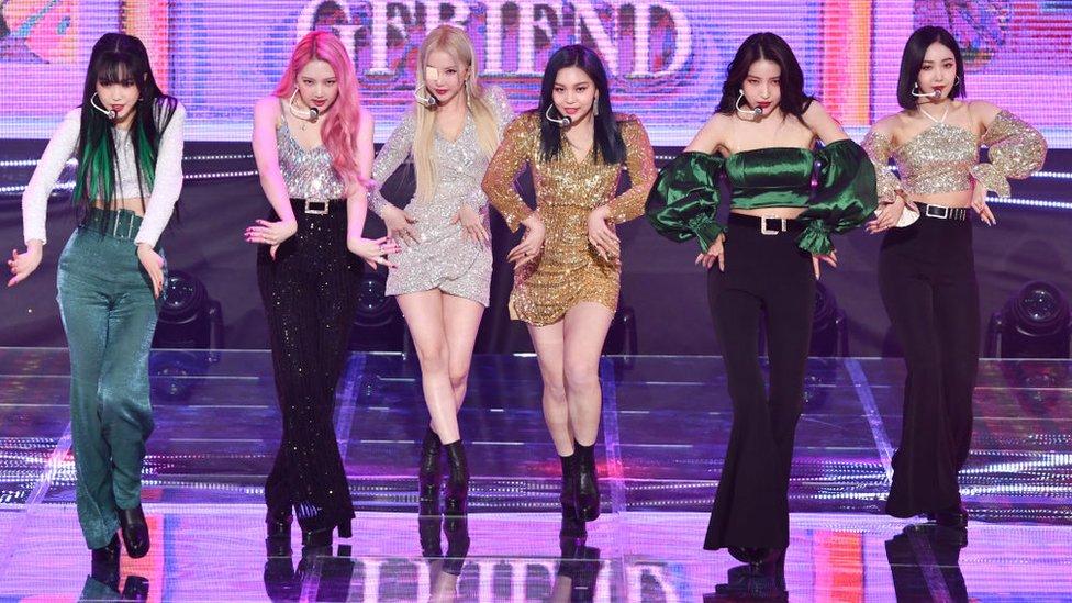 GFriend during GFriend's new album 'Walpurgis Night' Media Showcase at SBS Prism Tower Auditorium on 9 November 2020 in Seoul