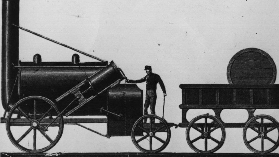La máquina a vapor diseñada y construida por George Stephenson.