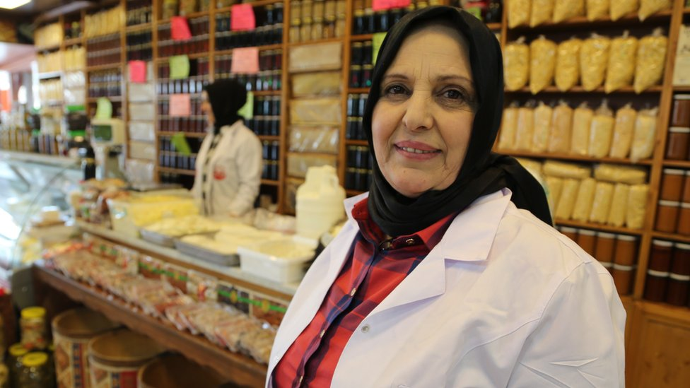 Aynur Gumussoy inside her delicatessen in the town of Kizilcahamam