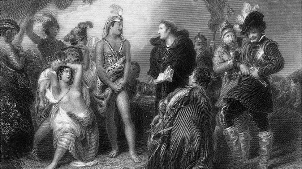 Pertemuan penjajah Spanyol dengan orang asli Peru.