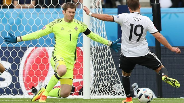 Northern Ireland's Michael McGovern in action against Germany
