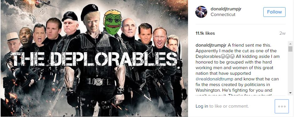 """Donald Trump Jr. shared an altered version of the movie poster for """"The Expendables"""", which showed Pepe the frog with his father's hair"""