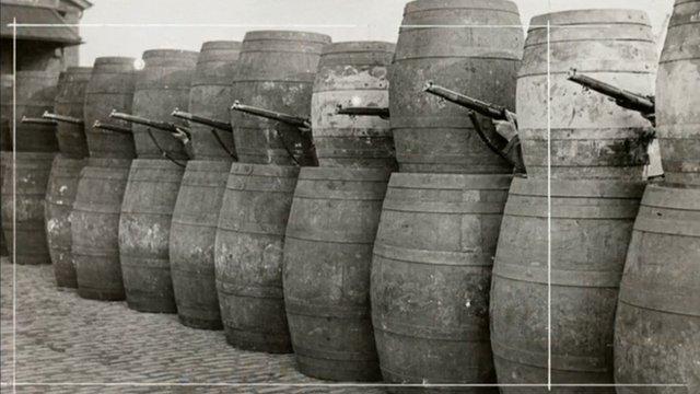 Guns behind barrels