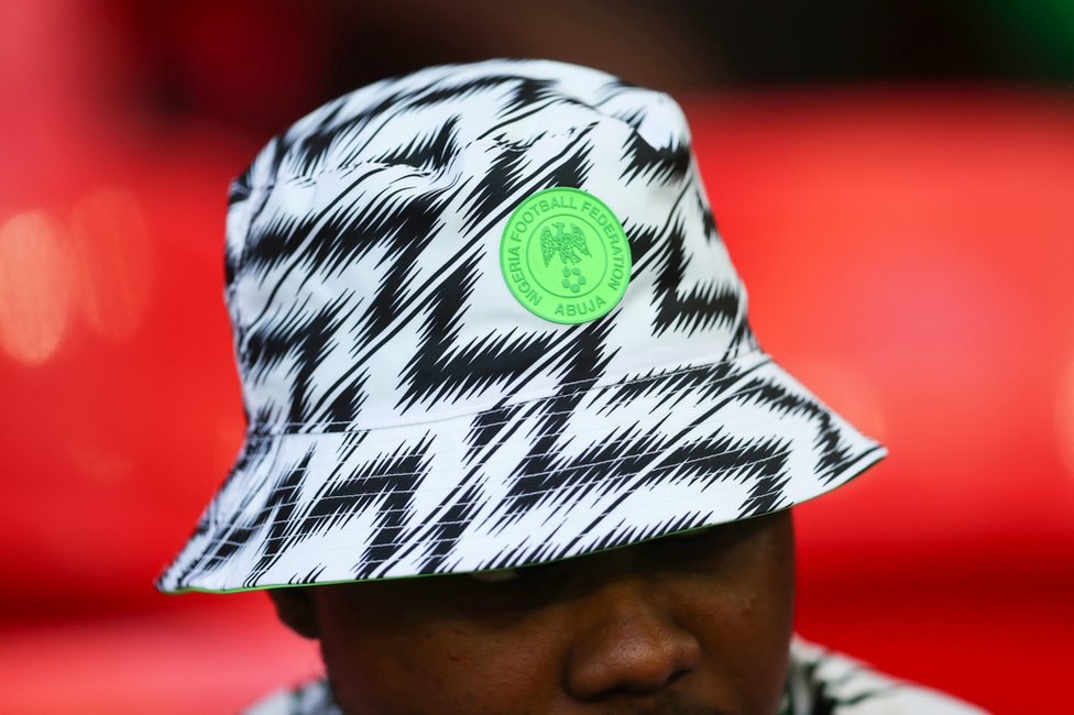 A fan wearing a Nigeria hat during the International Friendly match between England and Nigeria at Wembley Stadium on June 2, 2018 in London, England.