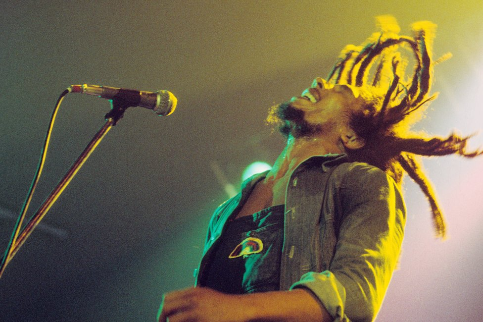 Bob Marley performs on stage in the Netherlands