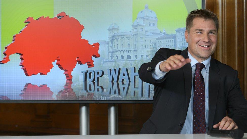 SVP leader Toni Brunner on TV