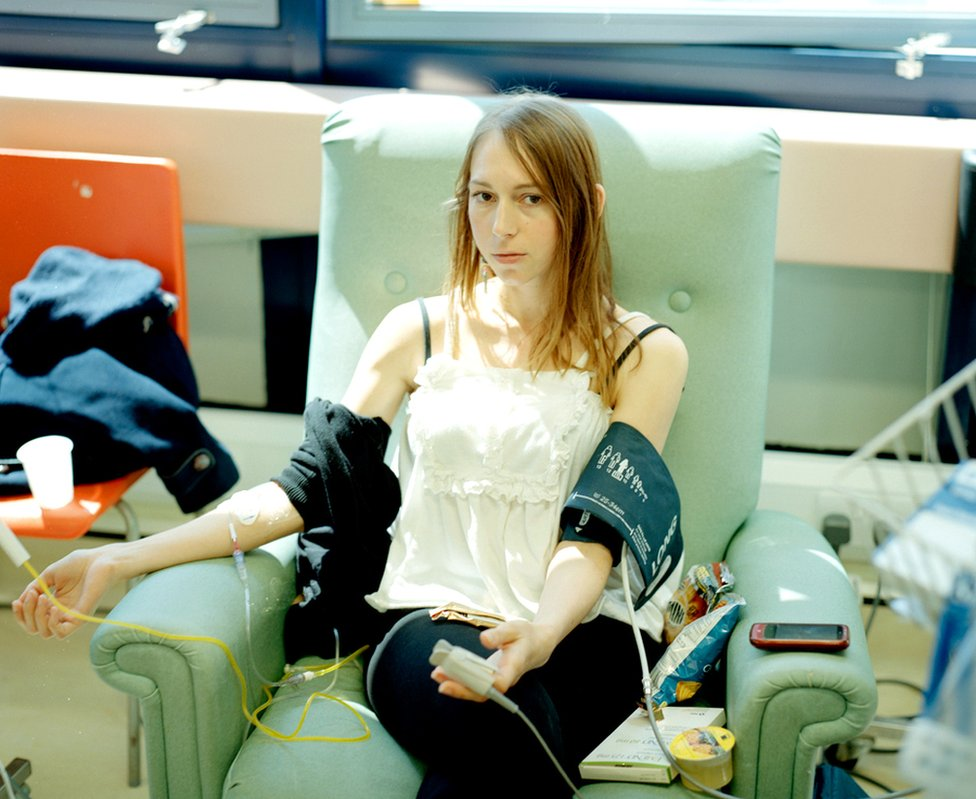 Carly Clarke undergoing chemotherapy